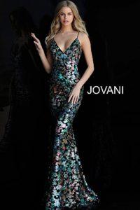 cf8640bffb0 Jovani 63487. Vícebarevné flitry zdobené dlouhé plesové šaty ...